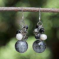 Pearl and tourmalinated quartz cluster earrings, 'Sophisticate' - Handcrafted Pearl and Tourmaline Earrings