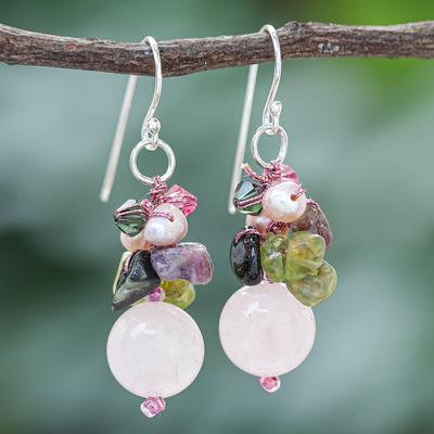 Pearl and rose quartz cluster earrings, 'Petal Romance' - Rose Quartz and Pearl Cluster Earrings