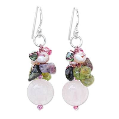 Pearl and rose quartz cluster earrings, 'Petal Romance' - Rose Quartz and Pearl Cluster Earrings