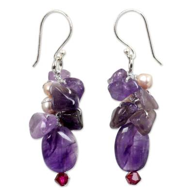 Pearl and amethyst cluster earrings, 'Dream Girl' - Pearl and Amethyst Dangle Earrings