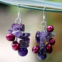 Pearl and amethyst cluster earrings, 'Jungle Orchid' - Fair Trade Amethyst and Pearl Cluster Earrings