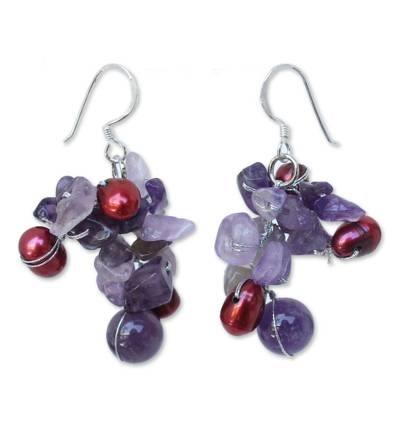 Fair Trade Amethyst and Pearl Cluster Earrings