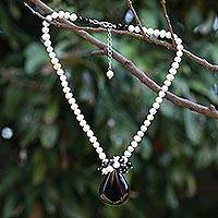 Onyx and pearl pendant necklace, 'In Daydreams' - Pearl and Onyx Pendant Necklace