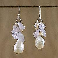 Pearl and rose quartz cluster earrings, 'Cloud Bouquet' - Unique Women's Rose Quartz Pearl Dangle Earrings