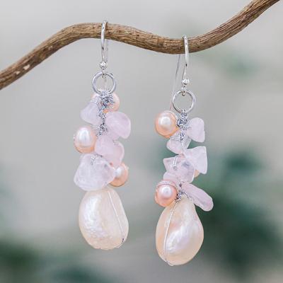 Pearl and rose quartz cluster earrings, 'Cloud Bouquet' - Rose Quartz and Pearl Beaded Earrings