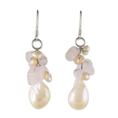 Rose Quartz and Pearl Beaded Earrings