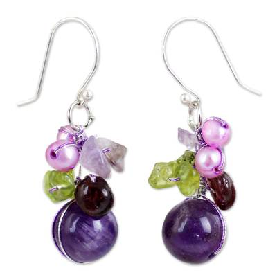 Garnet and amethyst cluster earrings, 'Bright Bouquet' - Handcrafted Amethyst and Pearl Dangle Earrings