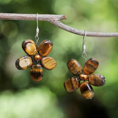 Pearl and tiger's eye flower earrings, 'Tawny Paradise' - Tiger's Eye Earrings from Thailand