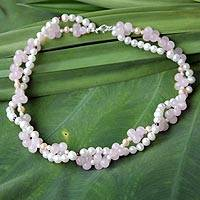 Pearl and rose quartz choker, 'Pink' - Pearl and rose quartz choker