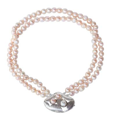 Pearl long pendant necklace