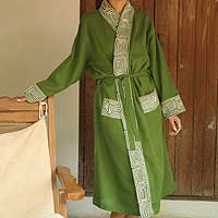 Cotton robe, 'Forest Labyrinth' - Green Cotton Robe