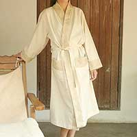 Cotton robe, 'White Chocolate' - Handcrafted Geometric Cotton Women's Loungewear