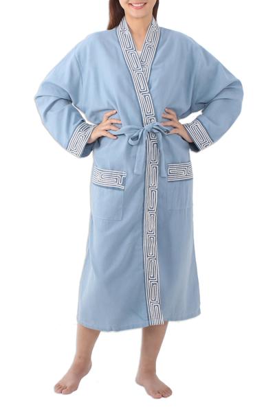 Cotton robe, 'Gray Day' - Thai Cotton Robe