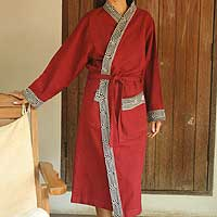 Cotton robe, 'Cherry Tea' - Embroidered Cotton Robe