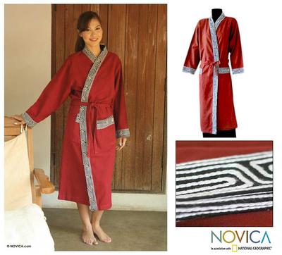 Cotton robe, 'Cherry Tea' - Embroidered Cotton Robe