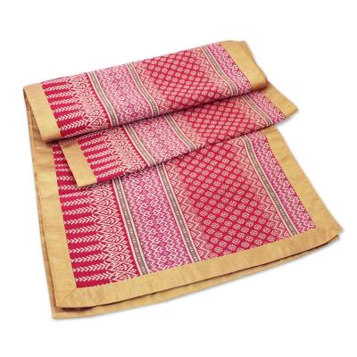 Silk and cotton table runner, 'Rosy Apple' - Silk and cotton table runner