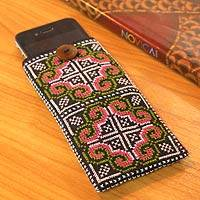 Cotton cell phone carrier, 'Distant Lands' - Cotton cell phone carrier