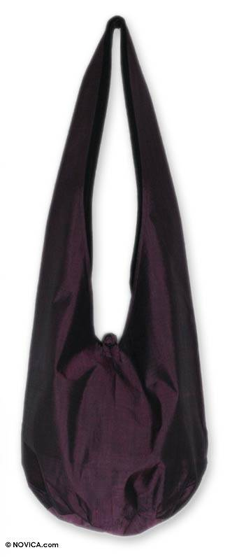 Silk and cotton shoulder bag, 'Hill Tribe Plum Chic' - Silk and cotton shoulder bag