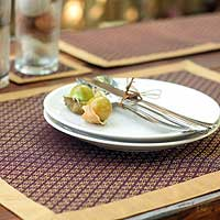 Silk and cotton table linens, 'Golden Blossom' (set for 4) - Silk and cotton table linens (Set for 4)
