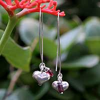 Garnet dangle earrings, 'Impassioned Hearts' - Silver and Garnet Dangle Earrings