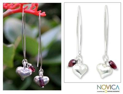 Garnet dangle earrings, 'Impassioned Hearts' - Silver and Garnet Dangle Earrings