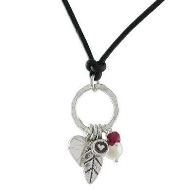 Pearl and leather choker, 'Charms of Love' - Silver and Leather Pendant Necklace