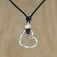 Pearl and leather choker, 'Sweet Love' - Fair Trade Garnet and Fine Silver Heart Pendant Choker
