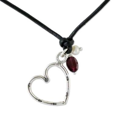 Pearl and leather choker, 'Sweet Love' - Garnet and Silver Heart Pendant Necklace