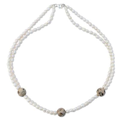 Pearl and jasper strand necklace