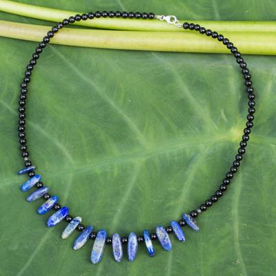 Onyx and lapis choker, 'Dark Ocean' - Onyx and Lapis Lazuli Beaded Choker