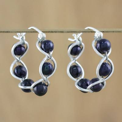 Pearl hoop earrings, 'Shadow Twist' - Sterling Silver and Pearl Hoop Earrings