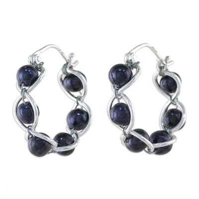 Pearl hoop earrings, 'Shadow Twist' - Sterling Silver and Pearl Hoop Earrings