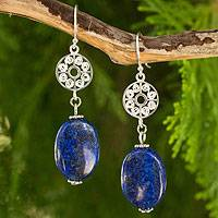 Lapis lazuli dangle earrings, 'Filigree Sky' - Silver Filigree and Lapis Lazuli Dangle Earrings