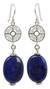 Lapis lazuli dangle earrings, 'Filigree Sky' - Silver Filigree and Lapis Lazuli Dangle Earrings (image 2a) thumbail