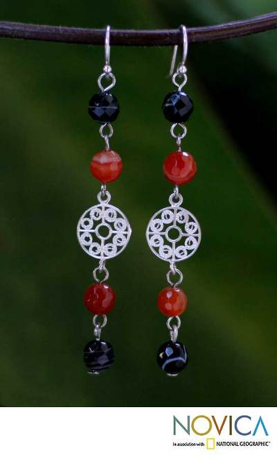 Carnelian and onyx dangle earrings, 'Filigree Day' - Carnelian and Onyx Silver Dangle Earrings