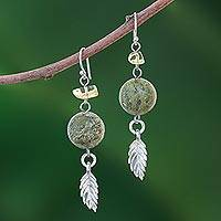 Unakite and citrine dangle earrings, 'Cool Forest'