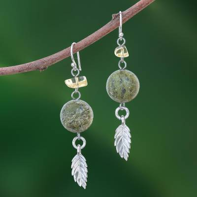 Unakite and citrine dangle earrings, 'Cool Forest' - Sterling Silver and Unakite Dangle Earrings