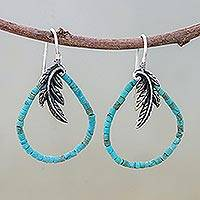 Sterling silver dangle earrings, 'Skybird' - Artisan Crafted Silver and Recon Turquoise Earrings