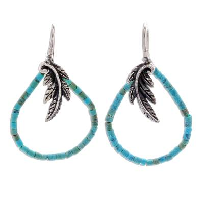 Artisan Crafted Silver and Recon Turquoise Earrings