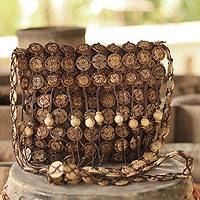 Coconut shell shoulder bag, 'Bouquets' (large) - Hand Made Coconut Shell Shoulder Bag