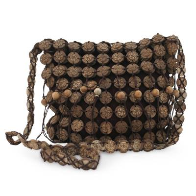 Novica Coconut shell handbag, Blooming Coconut