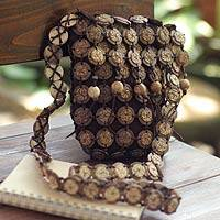 Coconut shell shoulder bag, 'Bouquets' (medium) - Coconut shell shoulder bag (Medium)
