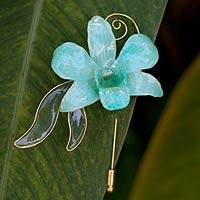 Natural orchid gold-plated stickpin, 'Baby Green' - Natural orchid gold-plated stickpin