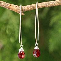 Garnet dangle earrings, 'Sublime' - Sterling Silver and Garnet Dangle Earrings