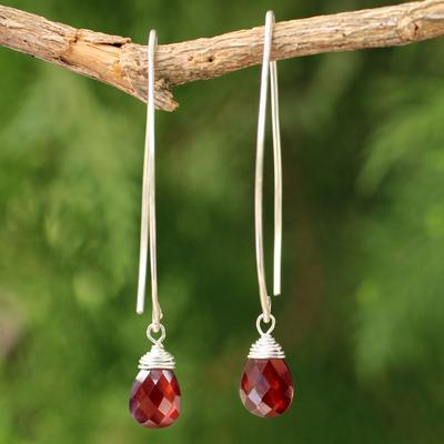 Garnet dangle earrings, 'Sublime' - Sterling Silver and Garnet Dangle Earrings