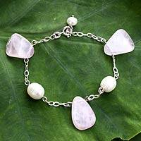 Pearl and rose quartz dangling bracelet, 'Quiet Sigh' - Rose Quartz and Pearl Bracelet