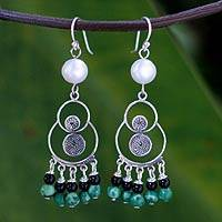 Pearl and malachite chandelier earrings, 'Filigree Falls' - Pearl and malachite chandelier earrings