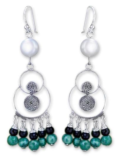 Pearl and malachite chandelier earrings, 'Filigree Falls' - Pearl and malachite chandelier earrings