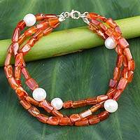 Carnelian and pearl beaded bracelet, 'Warmth' - Handmade Beaded Carnelian and Pearl Bracelet