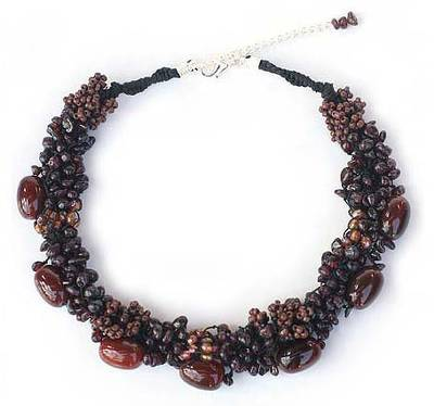 Unique Beaded Agate and Garnet Necklace